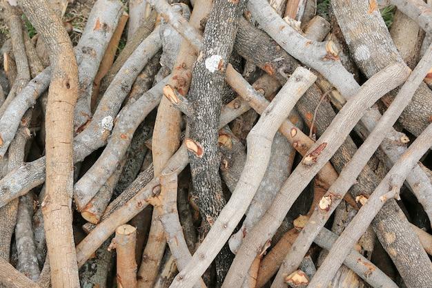 Drewno kominkowe kij tekstura tło.