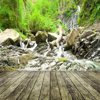Drewno teksturowane tła we wnętrzu pokoju na tle waterfallt