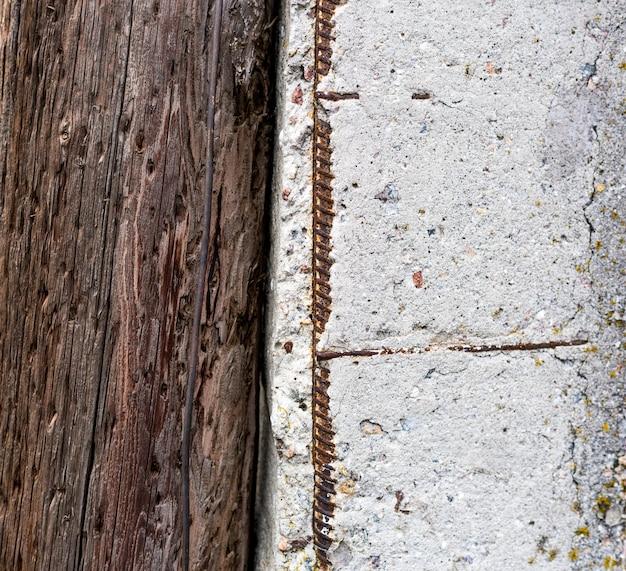 Drewno z betonową teksturą, mieszkanie nieatutowy, stary ośniedziały tło