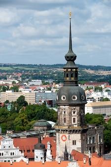 Drezno, widok z lotu ptaka na wieży residenzschloss