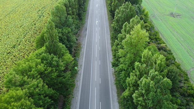 Droga asfaltowa poza miastem o dużym natężeniu ruchu. lot drona nad drogą i drzewami.
