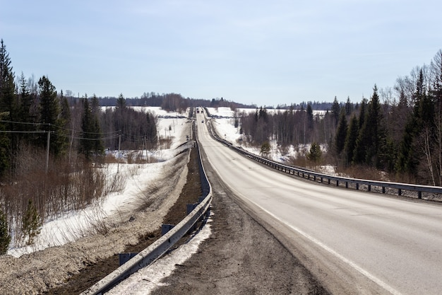 Droga asfaltowa w lesie. piękna podróż