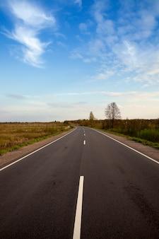 Droga asfaltowa w sezonie wiosennym, rośliny bez liści, krajobraz