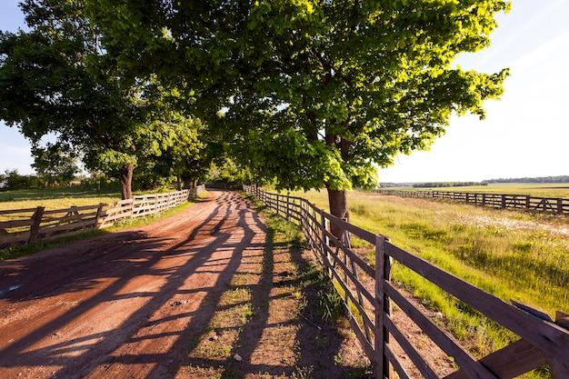 Droga gruntowa na terenach wiejskich gospodarstwa. ogrodzony drewnianym płotem