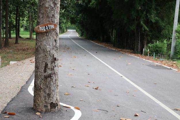 Droga i drzewo z brzmieniem przytulić drzewo, by uratować ziemię
