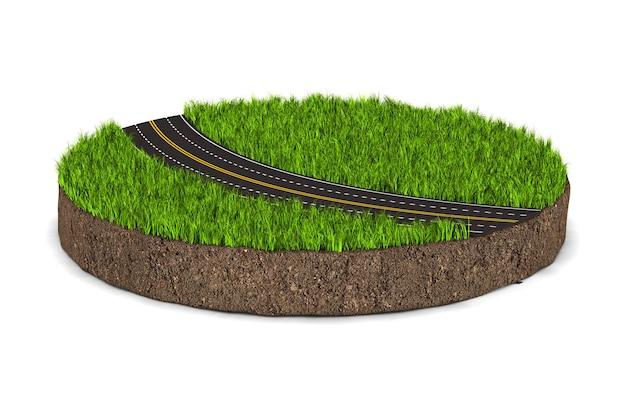 Droga i okrągła ziemia ziemia z zieloną trawą na białym tle. izolowana ilustracja 3d