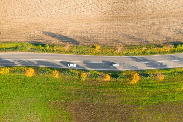 Droga między zielonym polem a ziemią uprawną z żółtymi drzewami o zachodzie słońca jesienią dwoma samochodami. widok z lotu ptaka na asfaltowym żużlu lub drzewo alei.