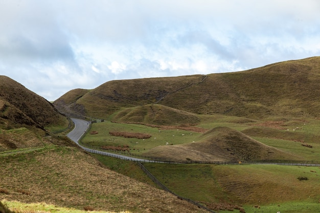 Droga na wzgórzach pokrytych zielenią w słońcu w wielkiej brytanii