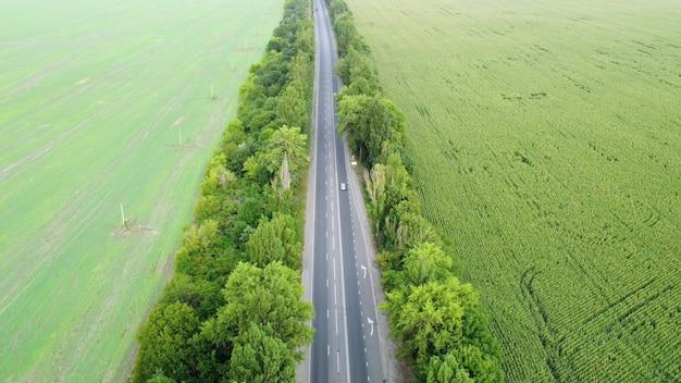 Droga ogrodzona drzewami z pól uprawnych, o dużym natężeniu ruchu. widok z wysokości.