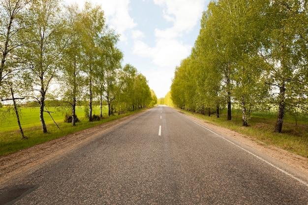 Droga, położona na wsi w sezonie wiosennym