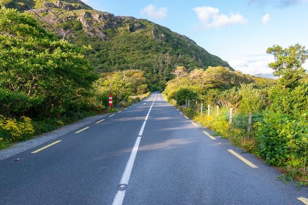 Droga w connemara z widokiem na góry na horyzoncie.