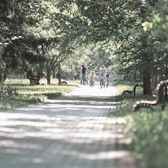 Droga w parku miejskim w letni dzień. koncepcja zdrowego stylu życia