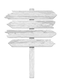 Drogowskaz biały drewniany strzałka na białym tle