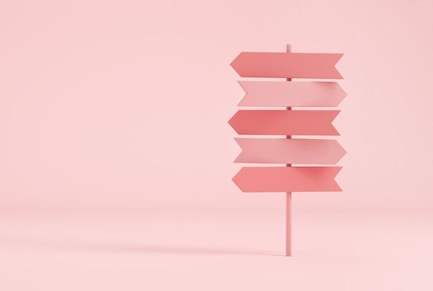 Drogowskaz crossroads w pastelowych różowych kolorach. renderowanie 3d