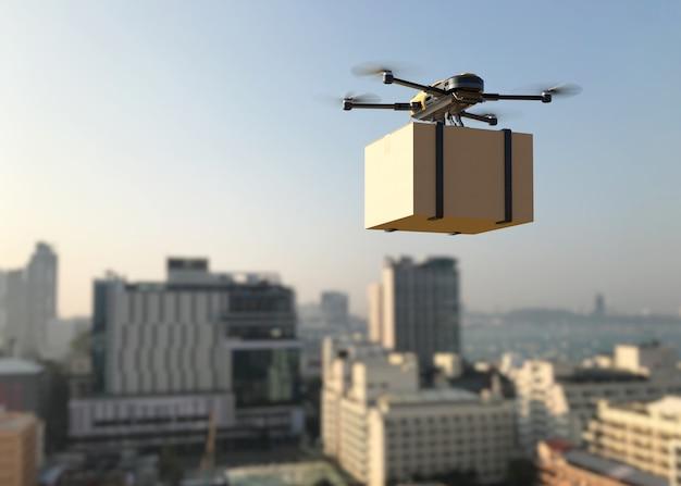 Dron dostarczający paczkę do miasta. biznesowy transport lotniczy.