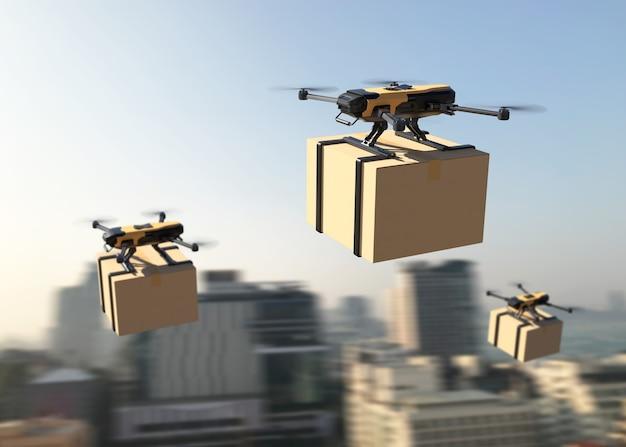 Dron dostarczający paczkę do miasta. ilustracja 3d