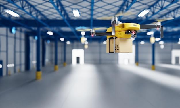Dron dostawczy przenoszący paczkę do pustego magazynu jako zakład produkcyjny lub firma spedycyjna dla kuriera zajmującego się montażem części. innowacyjna technologia. renderowanie 3d