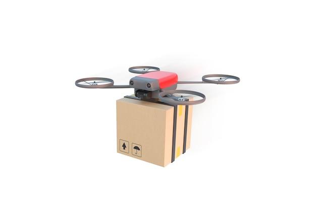 Drone latający z kartonem na białym tle