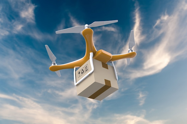 Drone latający z paczką na dostawę na niebie