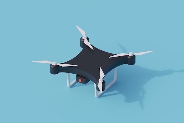 Drone pojedynczy izolowany obiekt. 3d render ilustracji izometryczny