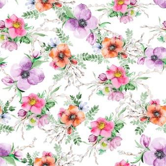 Druk kwiatu akwarela