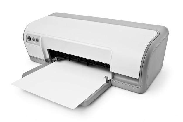 Drukarka atramentowa z papieru na białym tle