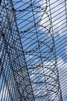 Drut kolczasty z trellised ogrodzeniem przeciw niebieskiemu niebu.
