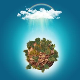 Drzewa 3d na skalistej kuli ziemskiej