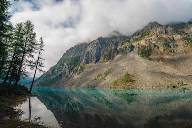 Drzewa iglaste w pobliżu górskiego jeziora z gigantycznym pasmem górskim we mgle. niesamowity skalisty grzbiet we mgle odbity w czystej wodzie wyżyn. atmosferyczny górzysty krajobraz. cudowny górski krajobraz.