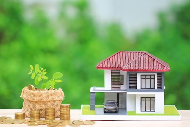 Drzewa rosnące na złote monety pieniądze w torbie i drewnianym domu