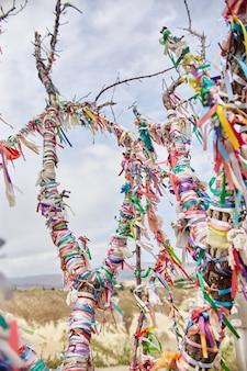 Drzewa z kolorowymi wstążkami w górach kapadocji goreme, turcja