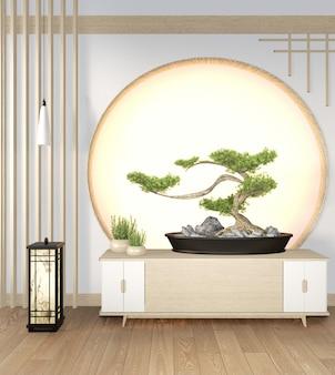 Drzewo bonsai na szafce drewnianej na ścianie pokoju w stylu zen i drewnianym designie, ton ziemi. renderowania 3d