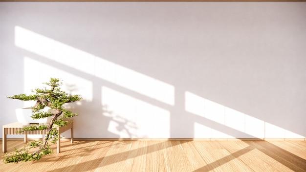 Drzewo bonsai na szafce drewnianej na ścianie w stylu pokoju zen i drewnianym designie, ton ziemi.