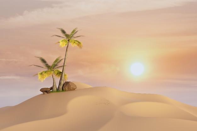 Drzewo kokosowe na pustyni z zachodem słońca, renderowanie ilustracji 3d