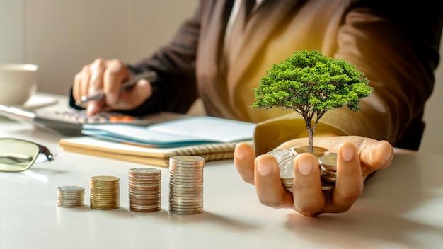 Drzewo, które wyrasta z pieniędzy w rękach biznesmena