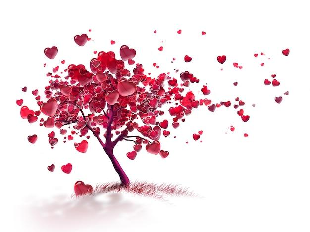 Drzewo miłości z latającymi sercami