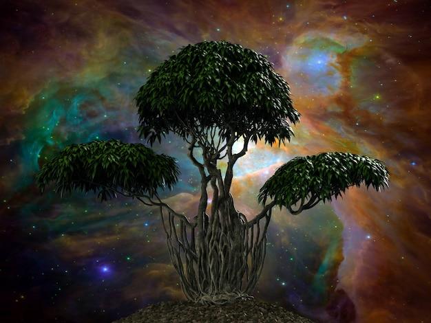 Drzewo na tle nocnego nieba