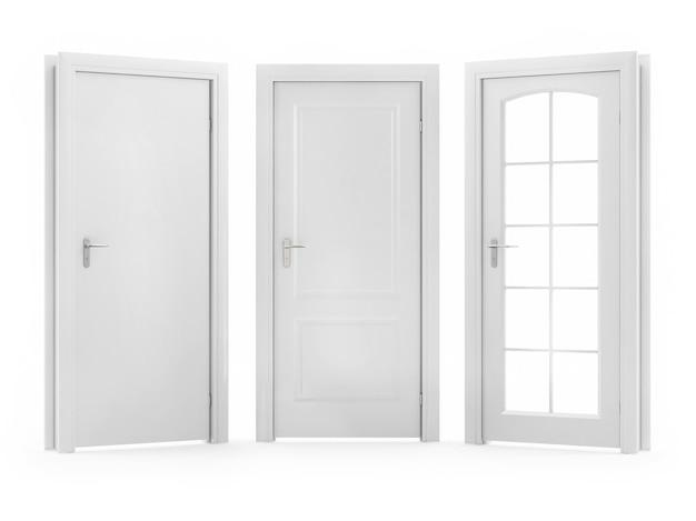 Drzwi na białym tle