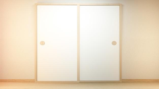 Drzwi na ściany pustym tle japoński styl. renderowanie 3d