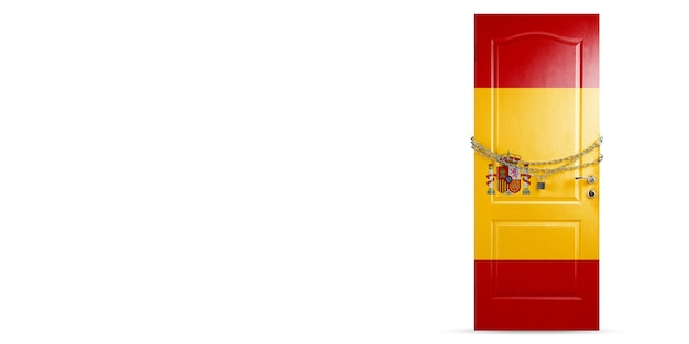 Drzwi w kolorze hiszpańskiej flagi narodowej z łańcuszkiem blokada krajów
