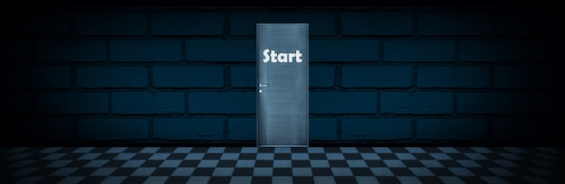Drzwi Z Napisem Start, Koncepcja Rozpoczęcia Działalności, Obraz Panoramiczny Premium Zdjęcia