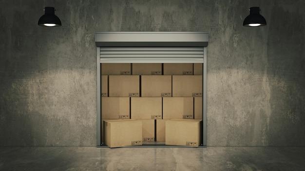 Drzwi żaluzjowe lub rolowane z kartonami 3d