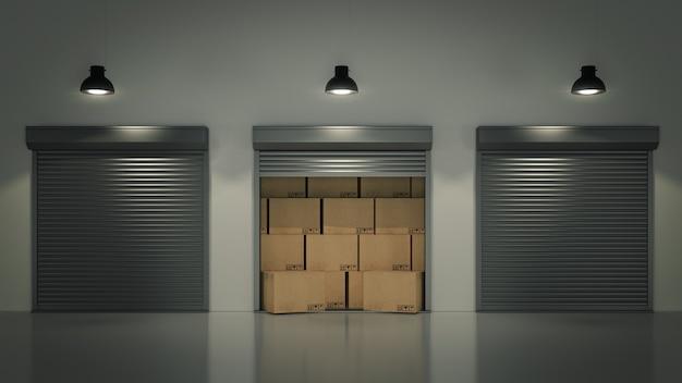 Drzwi żaluzjowe lub rolowane z pudłami kartonowymi 3d
