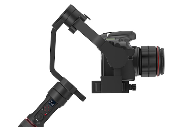 Dslr lub video camera gimbal stabilization tripod system na białym tle. renderowanie 3d