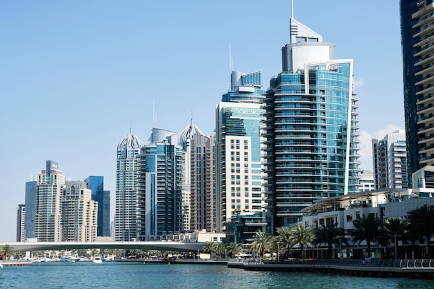 Dubaj pejzaż miejski z budynkami