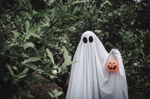 Duch pokryty białym prześcieradłem ducha na lesie ze słoikiem z dyni halloween. koncepcja halloween