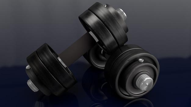 Dumbbell na czarnym tła renderingu 3d dla sport zawartości.