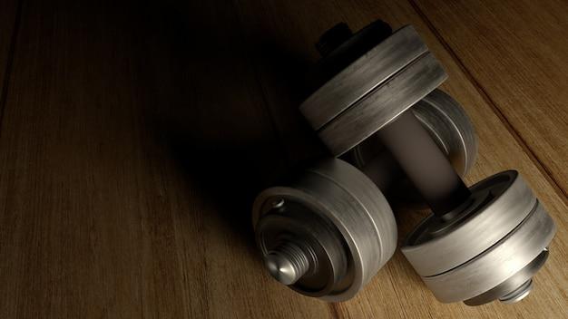 Dumbbells drewnianej podłoga ciemnego odcienia renderingu 3d dla zawartości dopasowania.