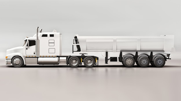 Duża biała amerykańska ciężarówka z wywrotką typu przyczepa do przewozu ładunków masowych na szarym tle. ilustracja 3d.