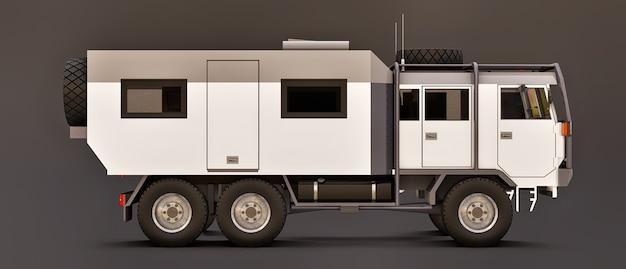 Duża biała ciężarówka na szarej przestrzeni, przygotowana na długie i trudne wyprawy w odległe miejsca. ciężarówka z domem na kołach. ilustracje 3d.